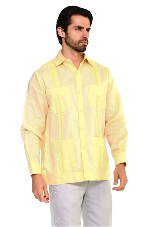 Wholesale Clothing Men's Traditional Guayabera Shirt Premium 100% Linen Long Sleeve  4 Pocket  Design  -NC-4680-B