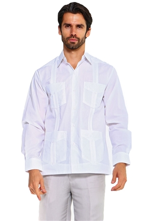Wholesale Clothing Men's Big & Tall Traditional Guayabera Shirt Premium 100% Linen Long Sleeve  4 Pocket  Design -NC-4680-C