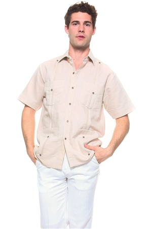 Wholesale Clothing Men's Natural Linen Guayabera Shirt Button Down Short Sleeve Classic Chacabana with 4 Pocket and Traditional Pleated Design -NC-4900-A