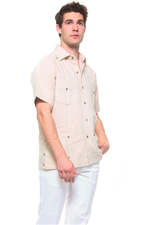 Wholesale Clothing Men's Natural Linen Guayabera Shirt Button Down Short Sleeve Classic Chacabana with 4 Pocket and Traditional Pleated Design -NC-4900-B