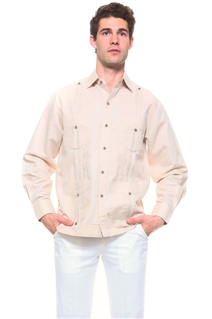 Wholesale Clothing Men's Natural Linen Guayabera Shirt Button Down Long Sleeve Classic Chacabana with 4 Pocket and Traditional Pleated Design -NC-4901-A