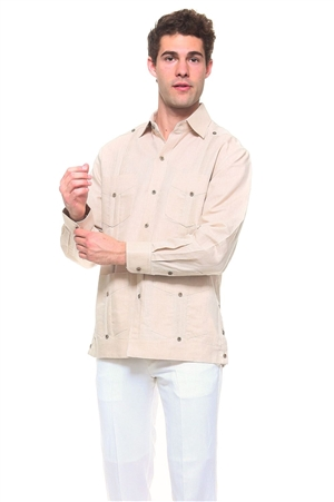 Wholesale Clothing Men's Natural Linen Guayabera Shirt Button Down Long Sleeve Classic Chacabana with 4 Pocket and Traditional Pleated Design -NC-4901-B