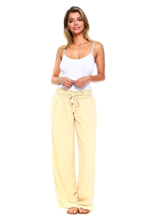 Wholesale Fashion Comfortable Casual Smocked Drawstring Waist Crinkled Palazzo Pant -NC-5051-A