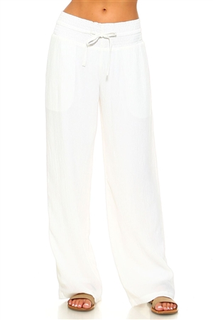 Wholesale Fashion Plus Size Comfortable Casual Smocked Drawstring Waist Crinkled Palazzo Pant -NC-5051-B-1X2X3X