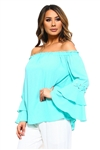 Wholesale Clothing Women's Ruffled Bell Long Sleeve Peasant Style Top  -NC-5054-A