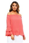 Wholesale Clothing Plus Size Women's Ruffled Bell Long Sleeve Peasant Style Top  -NC-5054-B