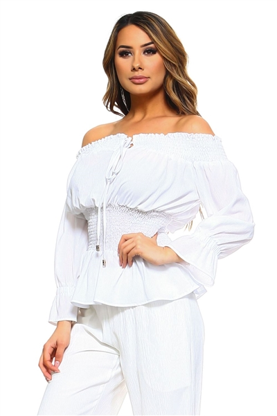 Wholesale Clothing Women's Ruffled Smocked Flared Long Sleeve  Peasant Style Top with Drawstring Neckline -NC-5061-A
