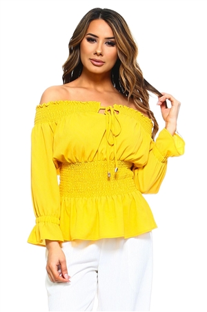 Wholesale Clothing Women's Plus Size Ruffled Smocked Flared Long Sleeve  Peasant Style Top with Drawstring Neckline -NC-5061-B