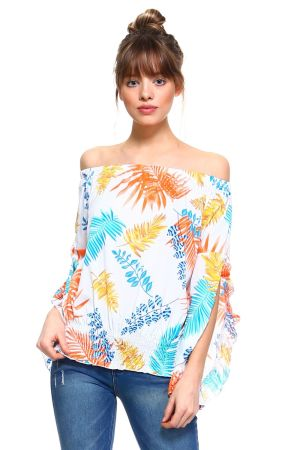 Wholesale Clothing Women's Sexy Floral Print Ruffled Flared Bell Sleeve Peasant Style Top -NC-5063-A