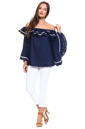 Wholesale Clothing Women's Sexy Ruffled Flared Bell Sleeve Striped Accent Peasant Style Top -NC-5068-A