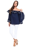 Wholesale Clothing Plus Size Women's Sexy Ruffled Flared Bell Sleeve Striped Accent Peasant Style Top -NC-5068-B