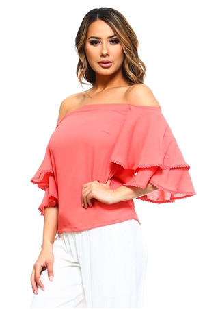 Wholesale Clothing Women's Ruffled Bell Sleeve Peasant Style Top -NC-5081-A