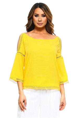 Wholesale Clothing Plus Size Women's Crochet Trim Design Open Shoulder ¾ Bell Sleeve Top -NC-5082-B