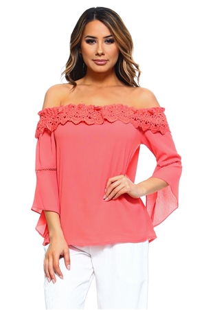 Wholesale Clothing Women's Floral Crochet Trim Bell Sleeve Peasant Style Top -NC-5085-A