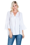 Wholesale Clothing Women's Crinkle Crochet Trim V Neck Bell Sleeve Hi-Lo Tunic Top -NC-5086-A