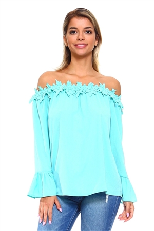 Wholesale Clothing Women's Elegant Floral Crochet Trim Neckline Ruffled Long Bell Sleeve Peasant Top -NC-5087-A