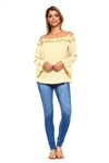 Wholesale Clothing Plus Size Women's Floral Crochet Trim Neckline Ruffled Long Bell Sleeve Peasant Top -NC-5087-B