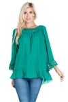 Wholesale Clothing Women's Crochet Trimmed Ruffled Hem 3/4 Sleeve Tunic Top -NC-5101-A
