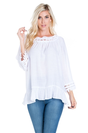 Wholesale Clothing Plus Size Women's Crochet Trimmed Ruffled Hem 3/4 Sleeve Tunic Top -NC-5101-B
