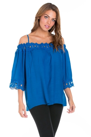 Wholesale Clothing Plus Size Women's Crochet Trimmed  3/4 Sleeve Peasant Top -NC-5102-B