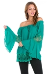 Wholesale Clothing Plus Size Women's Crochet Trimmed 3/4 Flared Bell Sleeve Peasant Top -NC-5103-B