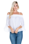 Wholesale Clothing Women's 3/4 Bell Sleeve Peasant Top -NC-5106-A