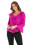 Wholesale Clothing Women's Ruffled Bell Sleeve V Neck Top -NC-5107-A