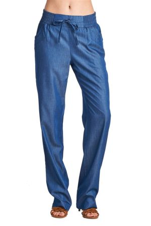 Wholesale Women's Drawstring Denim-Like Tencel Lounge Pants -NC-5167 | NaturalCollectionCorp.Com