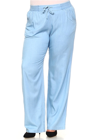 Plus Size Women's Drawstring Casual Lounge Pants in Tencel Fabric