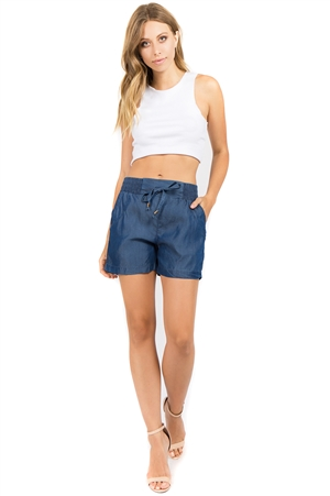 Wholesale Women's Drawstring Denim-Like Tencel Lounge Shorts -NC-5167R-A | NaturalCollectionCorp.Com