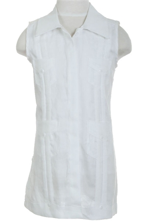 Wholesale Clothing Girls Cotton Blend Sleeveless Guayabera Dress with 4 Pocket Design -NCBG-4329-T