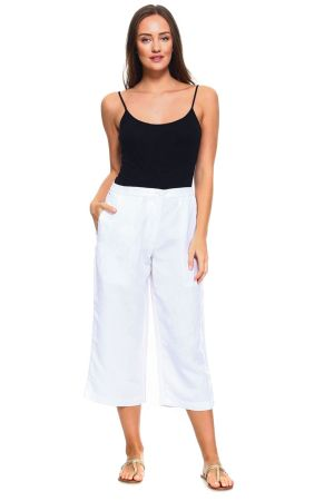 Wholesale Clothing Women's Linen Blend Straight Leg Capri Pant -NCC-4730-A