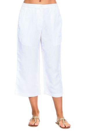 Wholesale Clothing Women's Plus Size Linen Blend Straight Leg Capri Pant -NCC-4730-B