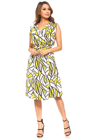 Ladies Abstract Print 2 Piece Knee Length Belted Wrap Dress Set