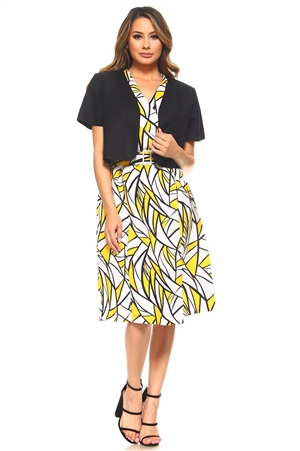 Plus Size Ladies Abstract Print 2 Piece Knee Length Belted Wrap Dress Set