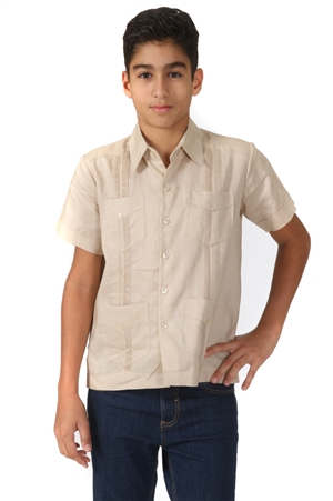 Junior Boys Guayabera Shirt Short Sleeve 4 Pocked Design by MOJITO Collection 14J-20J