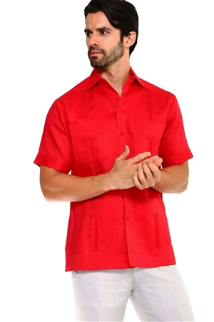 Wholesale Clothing Men's Premium Cotton Blend Short Sleeve Traditional 4 Pocket Guayabera Shirt  -NCM-1673-B