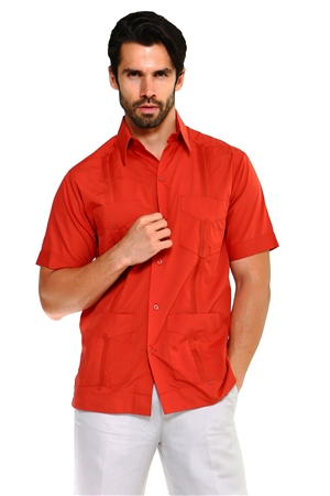 Wholesale Clothing Men's Big & Tall Premium Cotton Blend Short Sleeve Traditional 4 Pocket Guayabera Shirt NCM-1673-C