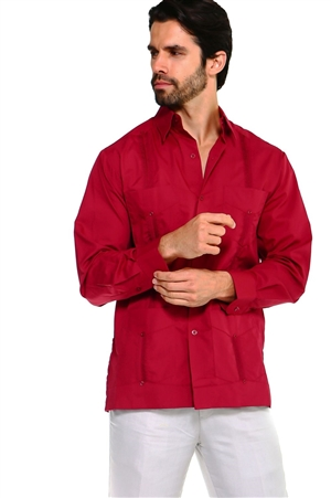 Wholesale Clothing Men's Premium Cotton Blend Long Sleeve Traditional 4 Pocket Guayabera Shirt  -NCM-2331-A