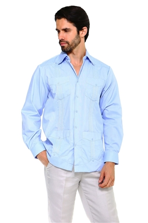 Wholesale Clothing Men's Premium Cotton Blend Long Sleeve Traditional 4 Pocket Guayabera Shirt  -NCM-2331-B
