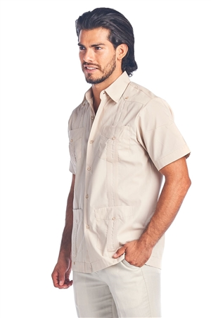 Wholesale Clothing Men's Guayabera Shirt Button Down Short Sleeve Solid Color Soft Cotton Blend Chacabana -NCM-3229-A