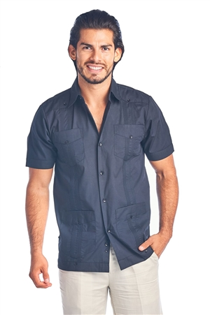 Wholesale Clothing Men's Guayabera Shirt Button Down Short Sleeve Solid Color Soft Cotton Blend Chacabana -NCM-3229-B