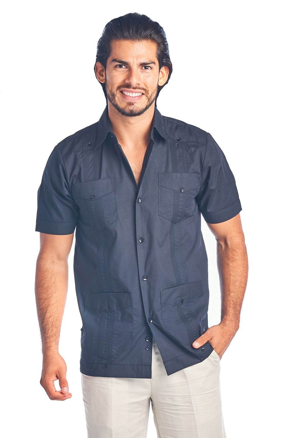 L, Light Blue Cubanita by Mojito Collection Poly Cotton Guayabera