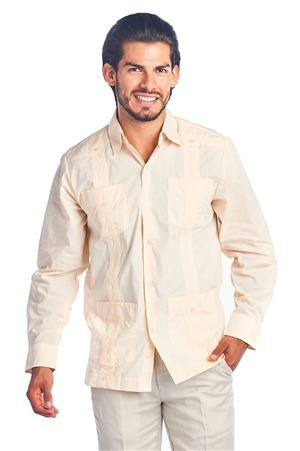 Wholesale Clothing Men's Guayabera Shirt Button Down Long Sleeve Solid Color Soft Cotton Blend Chacabana -NCM-3230-B