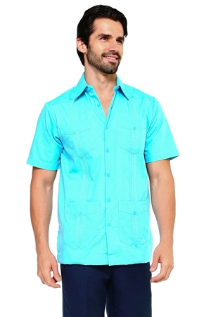 Wholesale Clothing Men's Cotton Blend Short Sleeve Traditional 4 Pocket Guayabera Shirt   -NCM-3232-A