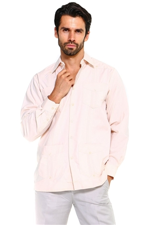 Wholesale Clothing Men's Cotton Blend Long Sleeve Traditional 4 Pocket Guayabera Shirt   -NCM-3233-A