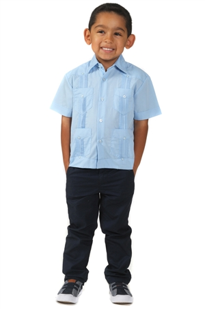 Todler Boys Cotton Blend Guayabera Shirt Short Sleeve by Mojito Collection 0T-4T
