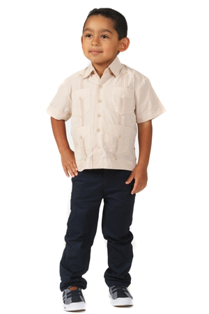 Todler Boys Linen Guayabera Shirt Short Sleeve 4 Pocket Design by MOJITO Collection 0T-4T