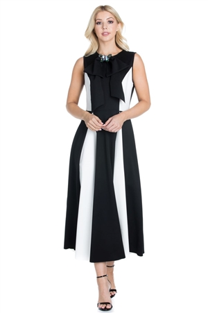 Wholesale Clothing Women's Sleeveless Neoprene Scuba Maxi Dress with Accent Bow -RA-001-A