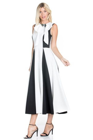 Wholesale Clothing Plus Size Women's Sleeveless Neoprene Scuba Maxi Dress with Accent Bow -RA-001-B